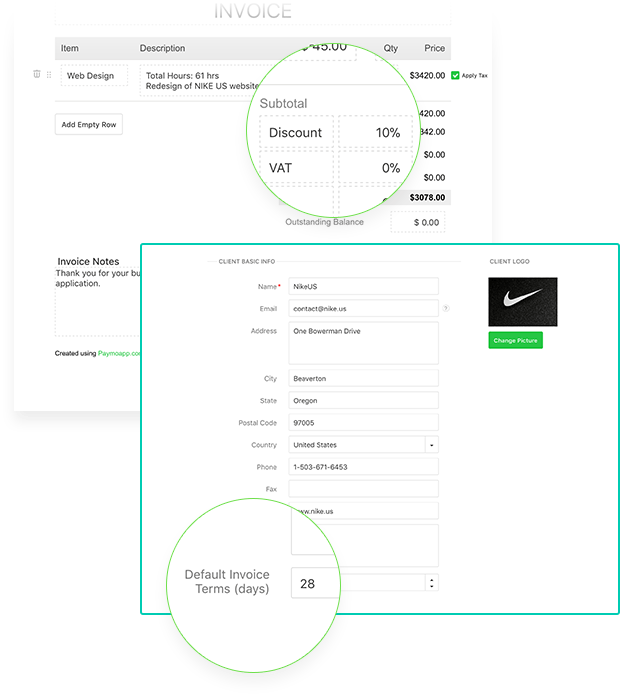 discount and invoice terms