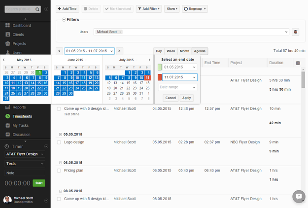 Calendar in agenda