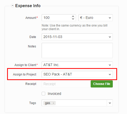 Assign expense to project