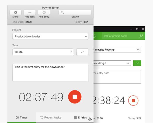 Paymo Desktop widgets
