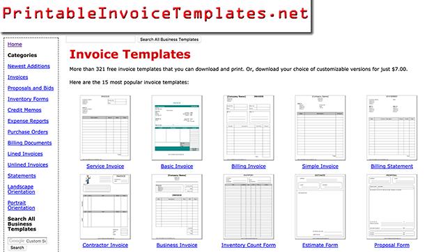Printable Invoice Templates