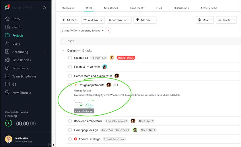 Paymo screenshot