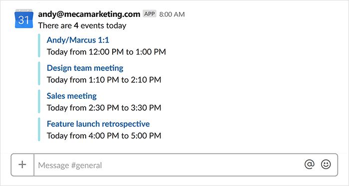 google calendar slack app