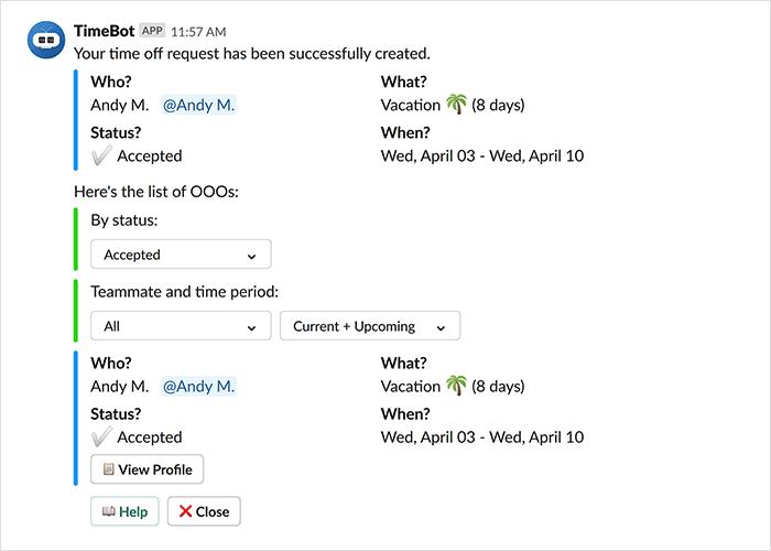 timebot for Slack