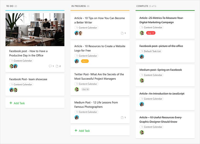 content-calendar kanban board examples