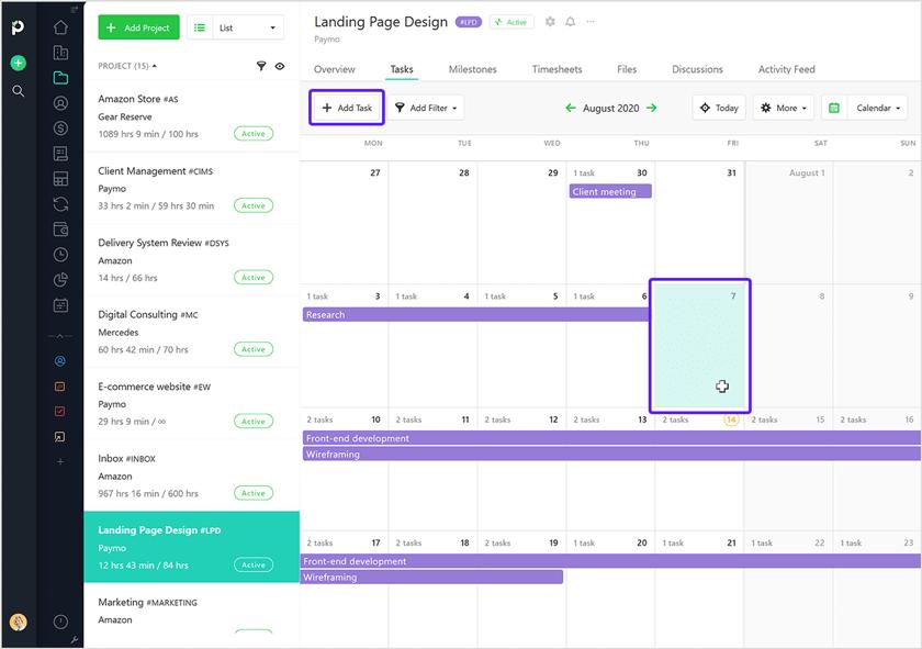 Calendar add paymo screenshot
