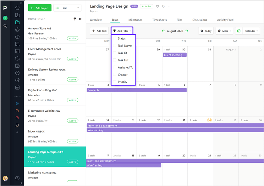 Add filters in calendar view Paymo