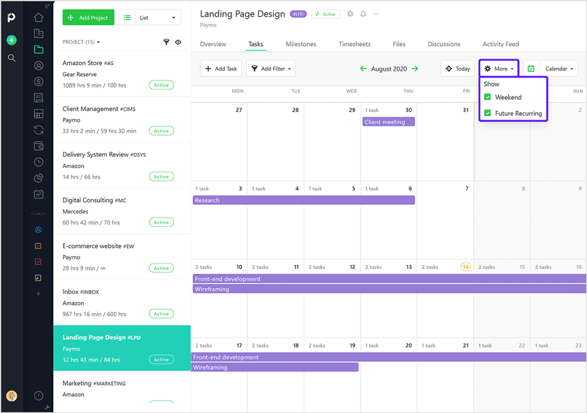 Recurring task in calendar view paymo