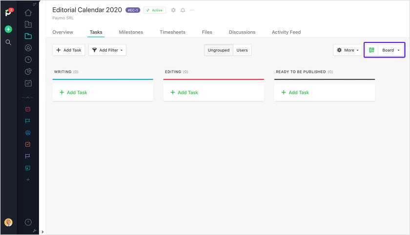Kanban workflow in Paymo