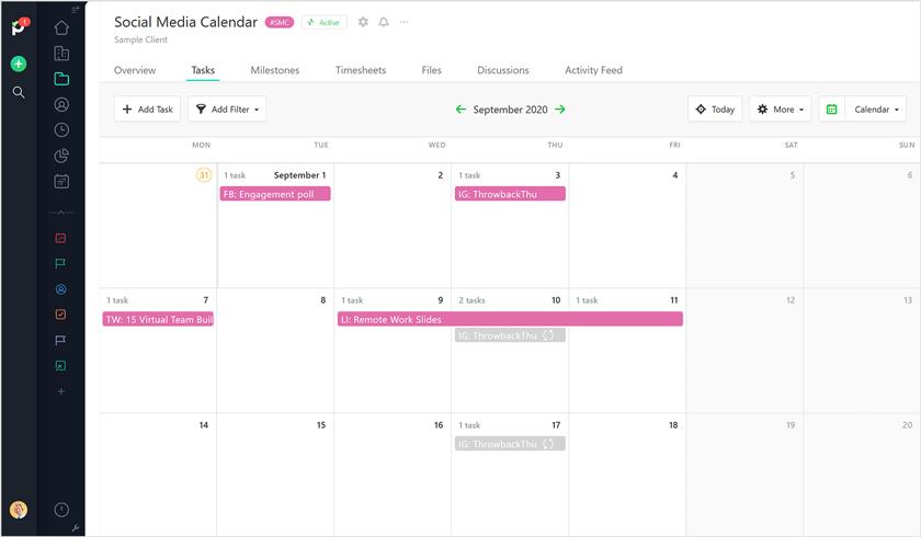 Social Calendar Paymo