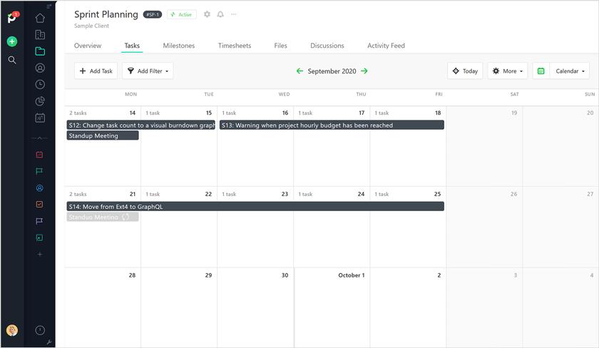 Sprint planning calendar Paymo