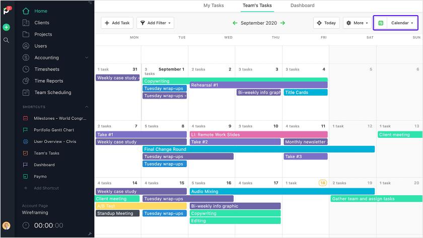 Team's tasks calendar view