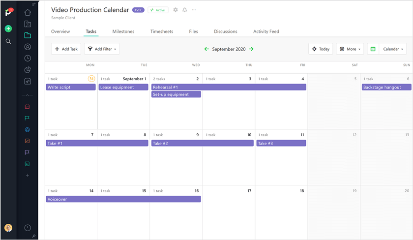 Video production calendar view Paymo